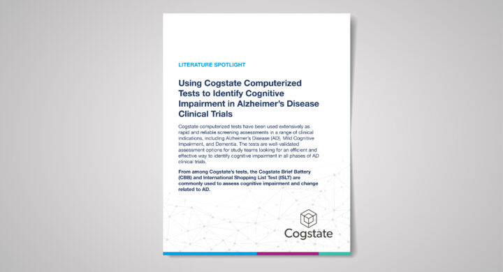 Literature Spotlight: Using Cogstate Computerized Tests to Identify Cognitive Impairment in Alzheimer's Disease Clinical Trials